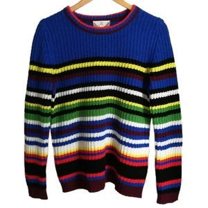 3/30$ PINK ROSE Multicolored Stripes Knit Sweater